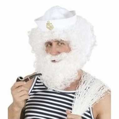Goedkoop carnavalskleding witte krullende herenpruik baard