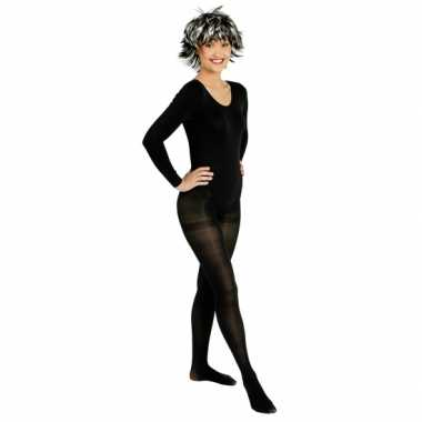 Goedkoop carnavalskleding zwarte body lange mouwen dames