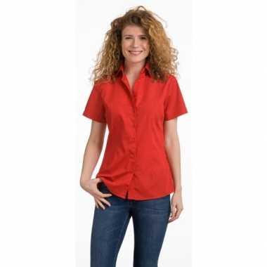 Goedkoop casual dames overhemd rood kort mouw carnavalskleding