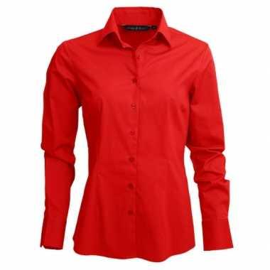 Goedkoop casual dames overhemd rood lange mouw carnavalskleding