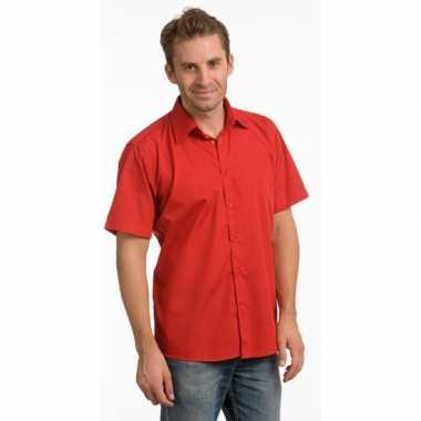 Goedkoop casual overhemd rood korte mouw carnavalskleding