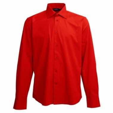 Goedkoop casual overhemd rood lange mouw carnavalskleding