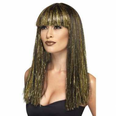 Goedkoop cleopatra pruik zwart goud carnavalskleding