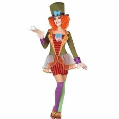 Goedkoop clown hoge hoed verkleed set dames carnavalskleding