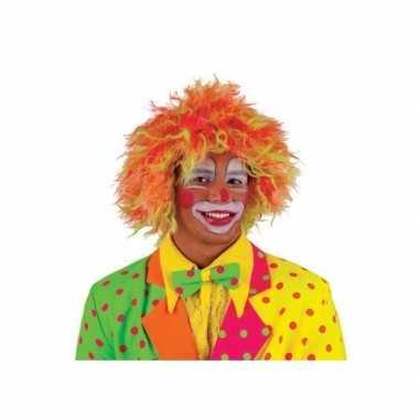 Goedkoop clownspruik felle kleuren volwassenen carnavalskleding