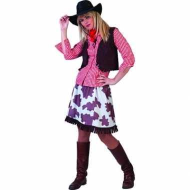 Goedkoop cowboy blouse vrouwen rood wit carnavalskleding