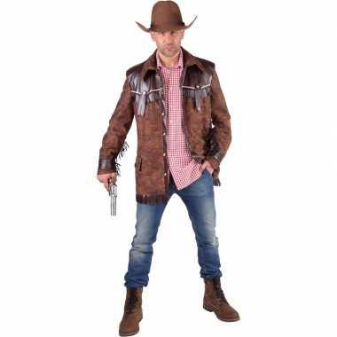 Goedkoop cowboy verkleed jas bruin heren carnavalskleding