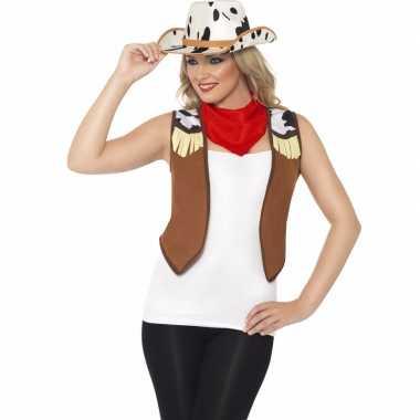Goedkoop cowboy verkleedaccessoires set dames carnavalskleding