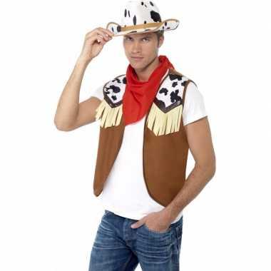 Goedkoop cowboy verkleedaccessoires set heren carnavalskleding