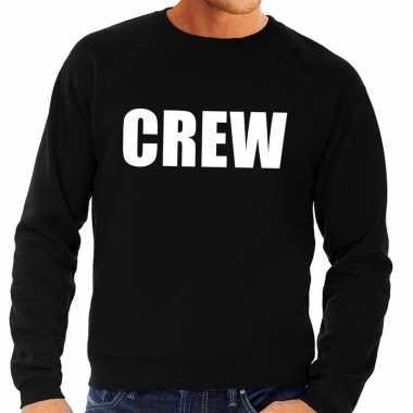 Goedkoop crew tekst sweater / trui zwart heren carnavalskleding