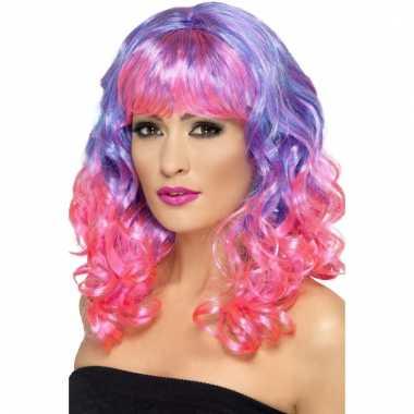 Goedkoop dames diva pruik roze paars carnavalskleding