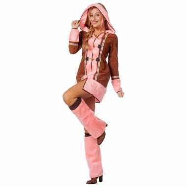 Goedkoop dames eskimo carnavalskleding bruin/roze