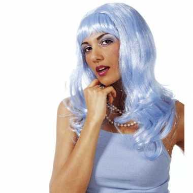 Goedkoop dames glitterpruik lichtblauw lang pony carnavalskleding