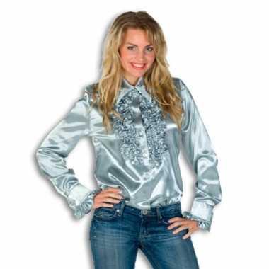 Goedkoop  Dames overhemd zilver rouches carnavalskleding