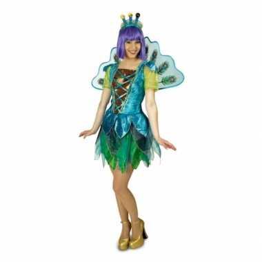 Goedkoop dames peacock pauw carnavalskleding