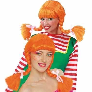 Goedkoop dames pruik oranje vlechten carnavalskleding