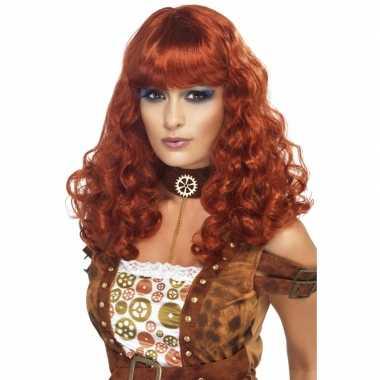 Goedkoop dames pruik rood/bruin carnavalskleding