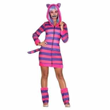 Goedkoop dames verkleed carnavalskleding gestreepte katten/poezen