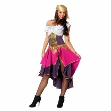 Goedkoop dames zigeunerin carnavalskleding paars/roze