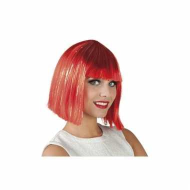 Goedkoop damespruik halflang bob haar rood zilver carnavalskleding