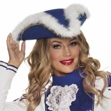 Goedkoop dansmarieke hoedje blauw wit carnavalskleding