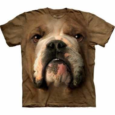 Goedkoop dieren shirts bulldog bruin carnavalskleding