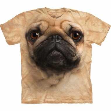 Goedkoop dieren shirts mopshond bruin carnavalskleding