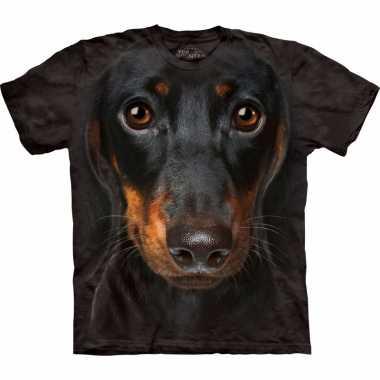 Goedkoop dieren shirts pincher hond volwassenen carnavalskleding