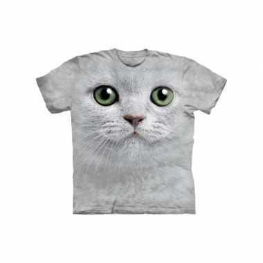 Goedkoop  Dieren shirts witte kat volwassenen carnavalskleding