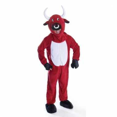 Goedkoop dierencarnavalskleding rode stier/koe volwassenen