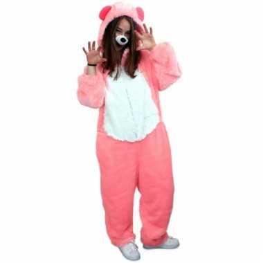 Goedkoop dierencarnavalskledingken roze beer volwassenen