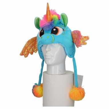 Goedkoop dierenmuts eenhoorn kinderen blauw carnavalskleding