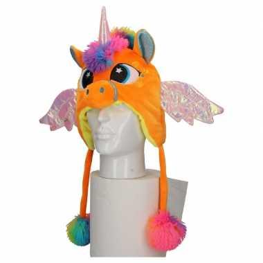 Goedkoop dierenmuts eenhoorn kinderen oranje carnavalskleding