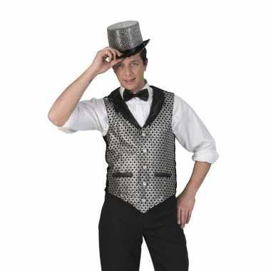 Goedkoop disco gilet zwart/zilver heren carnavalskleding