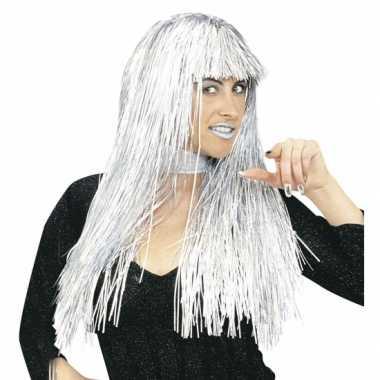 Goedkoop disco pruiken zilver folie carnavalskleding