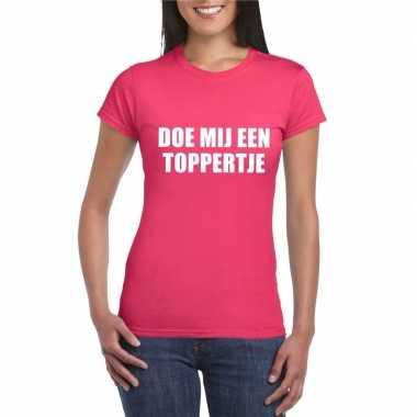 Goedkoop doe mij een toppertje shirt roze dames carnavalskleding