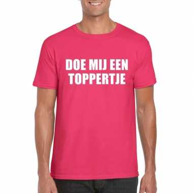 Goedkoop doe mij een toppertje shirt roze heren carnavalskleding