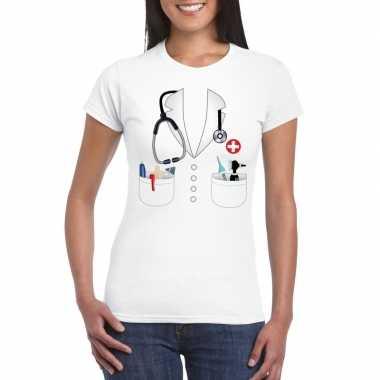 Goedkoop doktersjas carnavalskleding t shirt wit dames