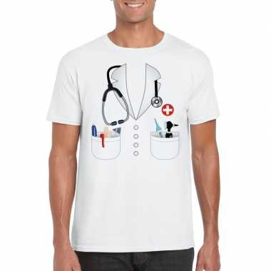 Goedkoop doktersjas carnavalskleding t shirt wit heren