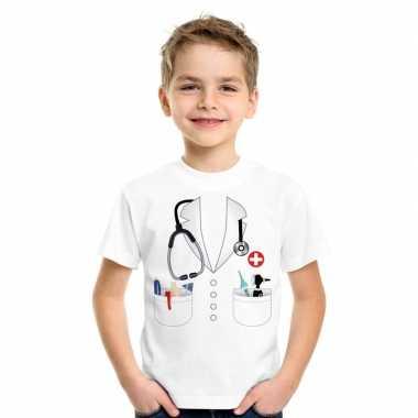 Goedkoop doktersjas carnavalskleding t-shirt wit kinderen