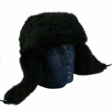 Goedkoop echte russische bontmuts zwart carnavalskleding