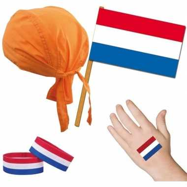 Goedkoop fan artikelen set nederland thema volwassenen carnavalskleding