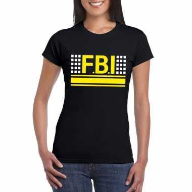 Goedkoop fbi logo t shirt zwart dames carnavalskleding