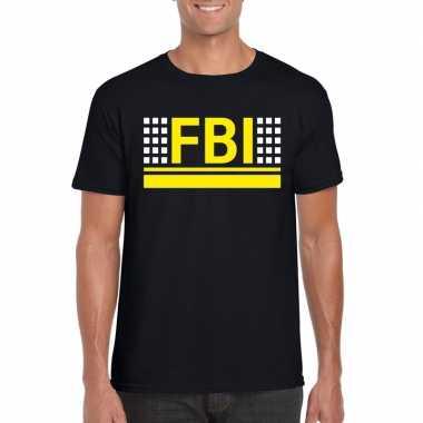 Goedkoop fbi logo t shirt zwart heren carnavalskleding