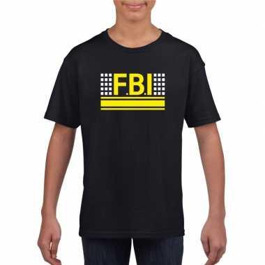 Goedkoop fbi logo t shirt zwart kinderen carnavalskleding