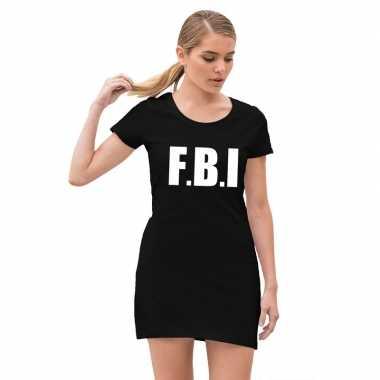 Goedkoop fbi politie verkleed jurkje zwart dames carnavalskleding