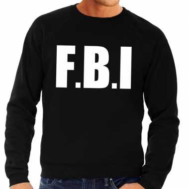 Goedkoop fbi tekst sweater / trui zwart heren carnavalskleding