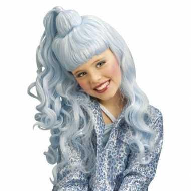 Goedkoop feest/party lichtblauwe verkleed pruik krullen een hoge staart meisjes/kinderen carnavalskleding