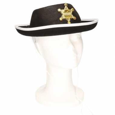 Goedkoop feest sheriff hoedje zwart kinderen carnavalskleding