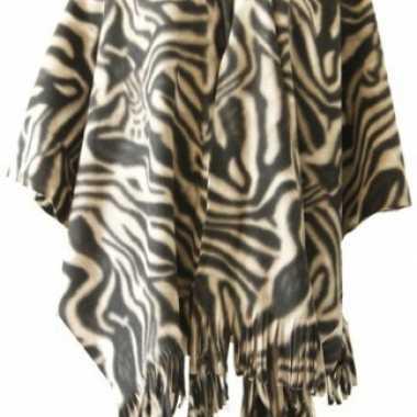 Goedkoop fleece poncho zebra print carnavalskleding